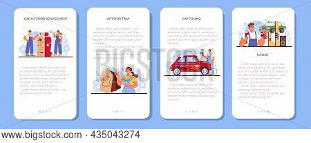 Car Tuning Mobile Application Banner Set. Automobile Interior Got Replaced