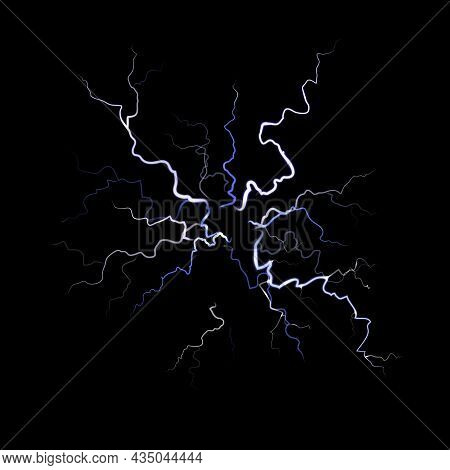 Lightning. Thunder Flash Electricity Spark Blow Light, Thunderstorm On Black Background. White Glowi