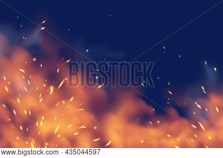 Smoky Fire. Sparks Of Fiery Heat, Red Hot Coals, Metal Ignite Smog Isolated On Black Background, Mag