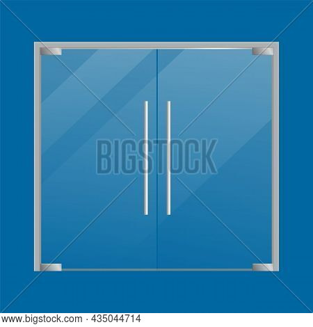 Glass Doors Realistic. Store Double Closed Door With Metallic Knob Isolated On Blue Background. Offi