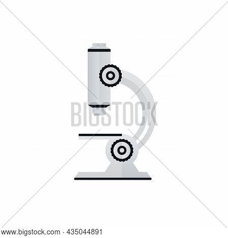 Microscope Paper Art Symbol On White Background. Scientific Research Laboratory Equipment Icon Desig