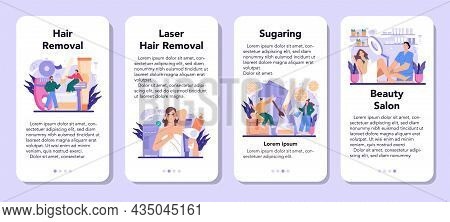 Depilation And Epilation Mobile Application Banner Set. Hair Removal