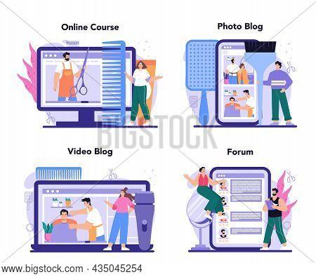 Hairstylist Online Service Or Platform Set. Idea Of Hairdressing In Salon