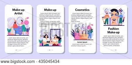 Make Up Artist Mobile Application Banner Set. Professional Artist