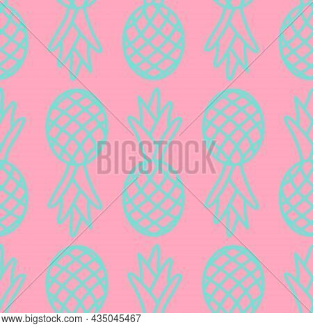 Seamless Pattern, Tropical Fruit Pineapple Pink Blue, Cute Repeating Pattern. Summer Background Desi