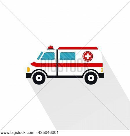 Ambulance Car Cartoon Symbol With Long Shadow. Emergency Medical Vehicle Vector Design.
