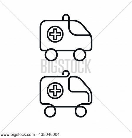 Outline Ambulance Car Symbols On White Background. Emergency Medical Vehicles Vector Design.