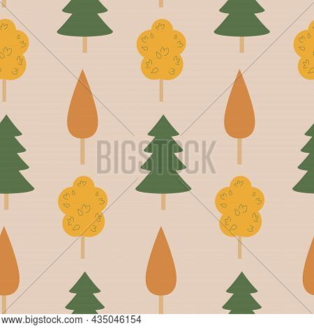 Autumn Seamless Pattern, Fir Trees And Deciduous Trees, Vector Illustration For Textiles And Wrappin