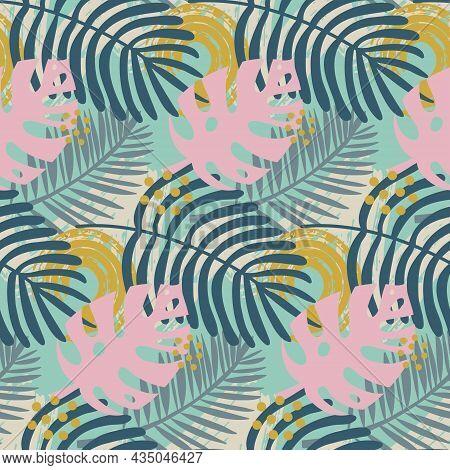 Monstera Palm Leaf Seamless Pattern, Tropical Pink Trendy Leaf, Vector Illustration