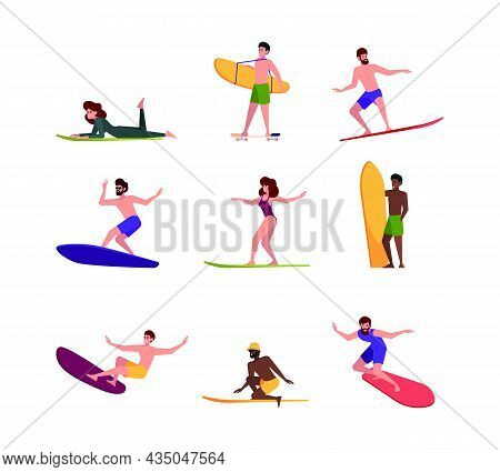 Surfers Persons. Extreme Action Sport Activity People Surfing On Board On Big Ocean Waves Garish Vec