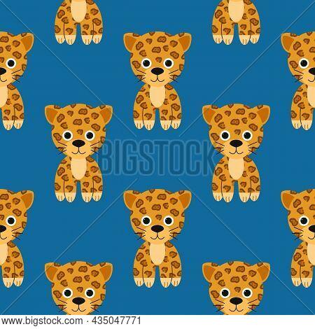 Pattern Cute Jaguar Character, Flat Colorful Drawing Funny Animal Of Tropical Jungle. Vector Illustr