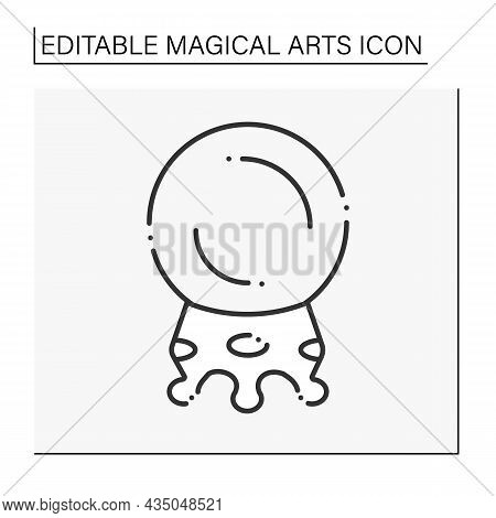 Crystal Ball Line Icon. Special Magic Instrument. Crystal Ball To Predict The Future. Magical Arts C