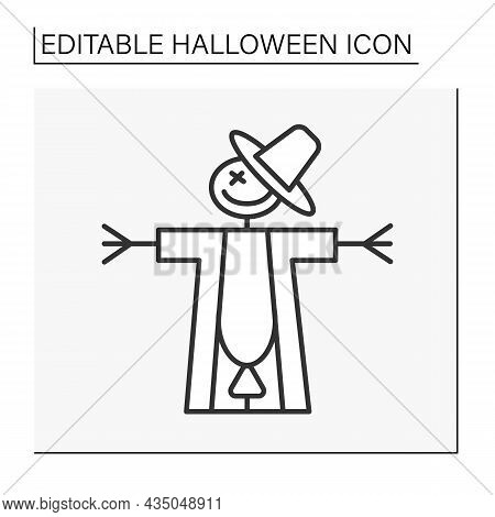 Scarecrow Line Icon. Scared Human Figure, Scare Birds Away From A Field.halloween Concept. Isolated
