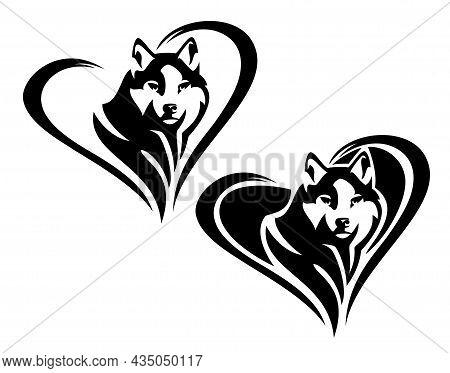 Husky Sled Dog Head Portrait Inside Heart Shape - Cute Pet Looking Forward Black And White Vector Ou