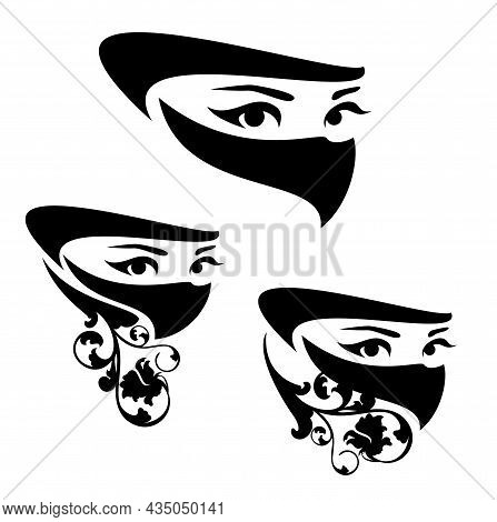 Beautiful Arabian Woman Wearing Traditional Muslim Head Covering And Rose Flower Decor -  Black And