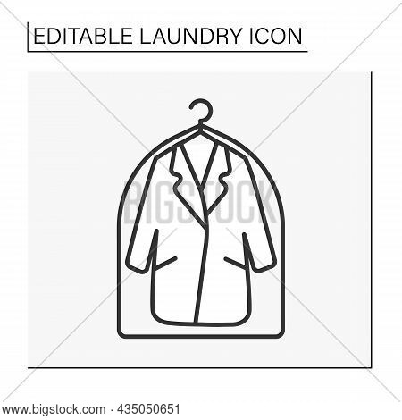 Garment Bag Line Icon. Clothing Protection From Dirt. Laundry Service Concept. Isolated Vector Illus