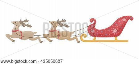 Vector Illustration Of Santa S Reindeer Harnessed To Santa Claus Sleigh. New Year S Red Sleigh Decor
