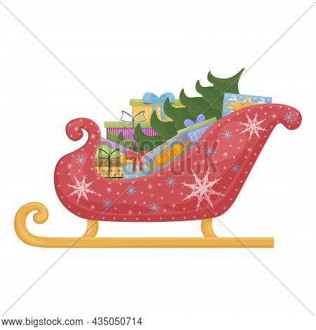 Santa Claus Sleigh With Gift Boxes And A Christmas Tree. Santa S Bright Red Sleigh Decorated With Wh