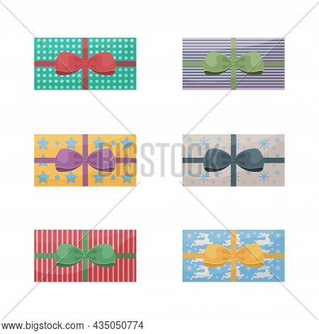 A Large Set Of Bright Gift Packages Decorated With Colorful Bows. Packaging For Gifts For New Year,