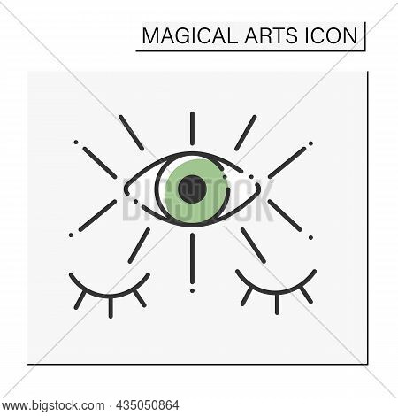 Fortune Teller Color Icon. Third Eye. Seecrees. Future Predictions. Magical Arts Concept. Isolated V