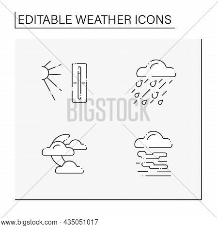 Weather Line Icons Set. Heavy Rain, Hot Temperature, Clouds Covered Moon, Fog. Meteorology Concept.
