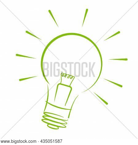 Glowing Light Bulb Outline Isolated On White Background, Vector Illustration