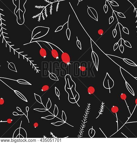 Vector Seamless Pattern With Twigs And Red Berries. For Autumn, Fall Or Winter Decoration And Invita