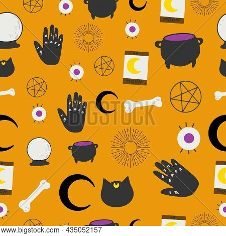Fortune Teller Hand With Palmistry Diagram, Hand-drawn All Seeing Eye. Vector Vintage Illustration F