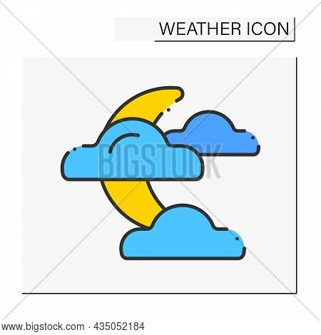 Night Color Icon. Moon Covered By Clouds. Poor Visibility. Partly Cloudy.weather Concept. Isolated V