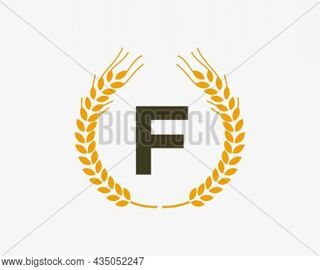 Agriculture Wheat Logo On F Letter. Letter F Agriculture Logo Design Template, Food, Healthy Nutriti