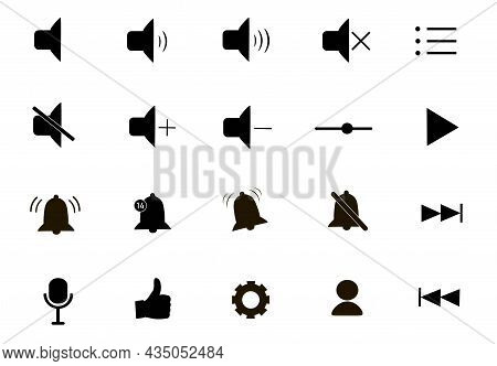 Player Interface Icons Set. Sign Of Beep, Microphone, Sound Settings On A Mobile Device. Strikethrou