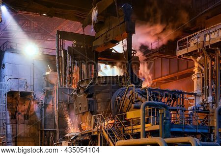 Scrap Metal Ladle Before Being Discharged Into The Steelmaking Furnace