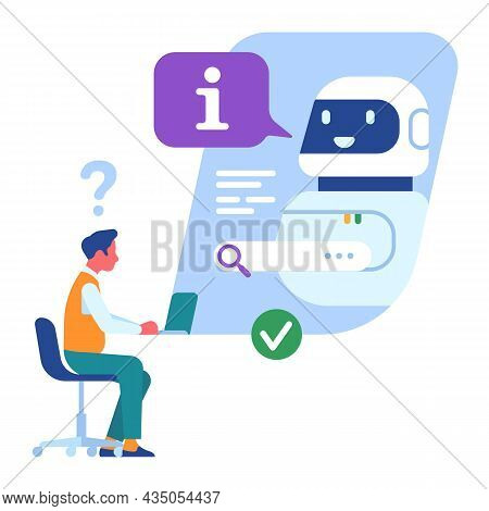 Customer Support Service. Call Center Worker Or Hotline Operator With Robot In Chatbot. Man Asks Que