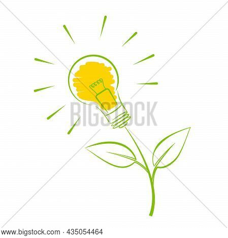 Green Energy Symbol, Plant With Light Bulb Vector Illustration