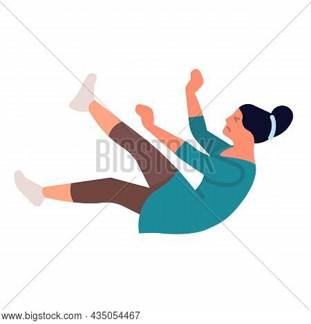 Injuring Falling Women. Dangerous Falls. Disorientation In Space And Balance Loss. Girl Drops Back.