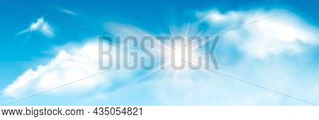 Set Of Transparent Different Clouds With Sun. Spring, Summer Isolated On Blue Background. Real Trans