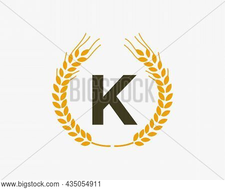 Agriculture Wheat Logo On K Letter. Letter K Agriculture Logo Design Template, Food, Healthy Nutriti