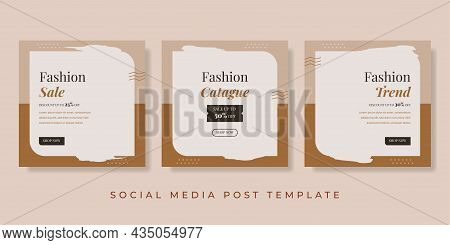Fashion Sale Social Media Post Template. Brown Background For Banner, Brochure, Flyer. Vector Illust