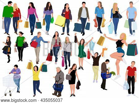 Set Of People Carrying Shopping Bags With Purchases - Colorful Illustrations For Your Graphic Projec