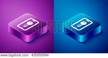 Isometric Smart Key Icon Isolated On Blue And Purple Background. Square Button. Vector