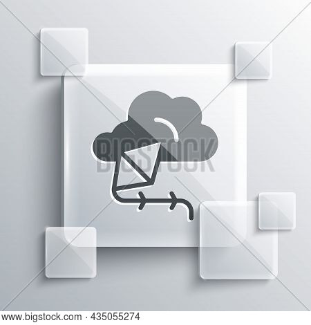 Grey Kite Icon Isolated On Grey Background. Square Glass Panels. Vector