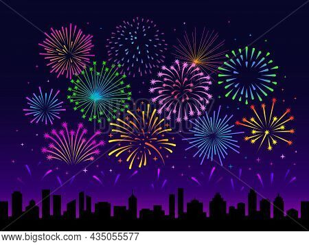 Night City Fireworks. Firework Festival Scene, Summer Celebrate. New Year Holiday Landscape, Town Si
