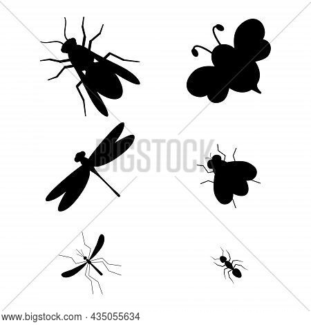 Black Silhouette Insect Characters Set. Bee, Wasp, Ant, Dragonfly, Fly And Mosquito. Vector Isolated