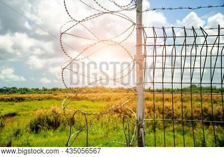 Barbed Wire Barrier In Restricted Area, Barbed Wire Against Sky With Sun, Barbed Bottom View And Mor