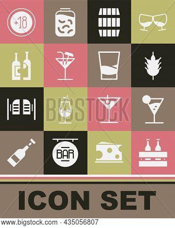 Set Pack Of Beer Bottles, Martini Glass, Hop, Wooden Barrel, Cocktail, Bottles Wine, Alcohol 18 Plus