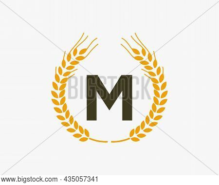 Agriculture Wheat Logo On M Letter. Letter M Agriculture Logo Design Template, Food, Healthy Nutriti