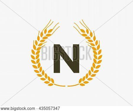 Agriculture Wheat Logo On N Letter. Letter N Agriculture Logo Design Template, Food, Healthy Nutriti