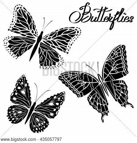 Stencils From Black Butterflies.vector Illustration With Stencils Of Black Butterflies On A Transpar