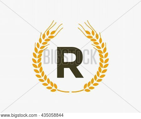 Agriculture Wheat Logo On R Letter. Letter R Agriculture Logo Design Template, Food, Healthy Nutriti