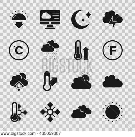 Set Sun, Cloud, Fahrenheit, Moon And Stars, With Rain, Celsius, Sunset And Meteorology Thermometer I